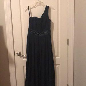 Navy one shoulder bridesmaid dress